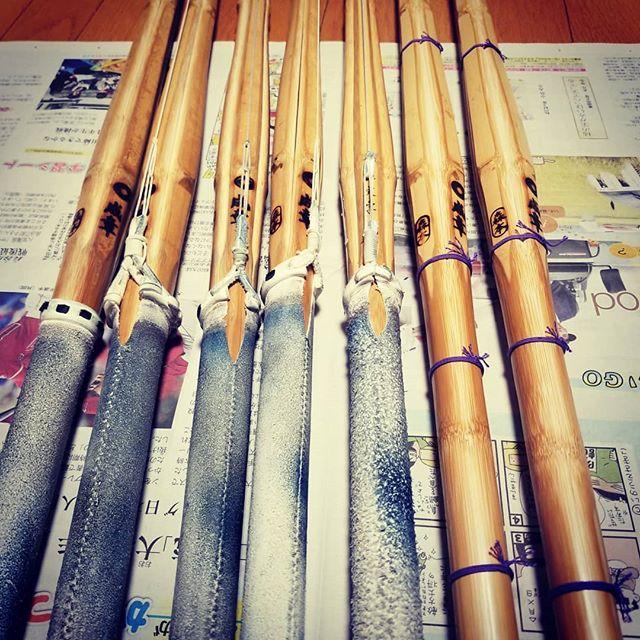 新しい竹刀が届いたので、手入れと竹刀の組み直しタイム (Instagram)